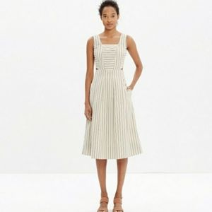 Madewell Stripe Cutout Midi Sundress Cream & Black